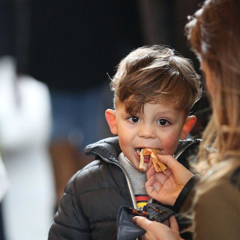 Child eating panzerotti